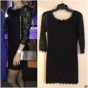 Diane von Furstenberg Black Lace Dress
